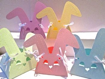 10 x Bunny Rabbit Favour/ Gift Box Assorted Pastel Coloured Card